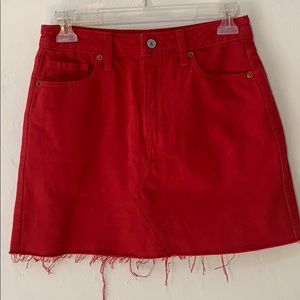 Red denim mini skirt A&F